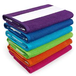 KAUFMAN - Cabana Terry Loop Beach & Pool Towel 6-Pack - 30in