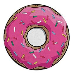 Round Towel Co. Pink Donut Round Beach Towel 100% Cotton Rou