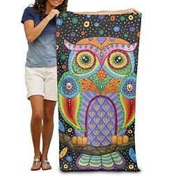 Percvtly Colorful Owl Quick-drying Pool Beach Towel For Pool