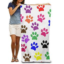 Colorful Paw Prints 100% Polyester Adults Beach Towels Unise