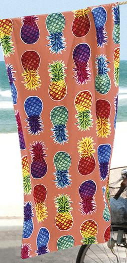 "Colorful Pineapples Beach Towel - 30"" x 60"" - Velour - Made"