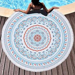 coral blue mandala thick terry