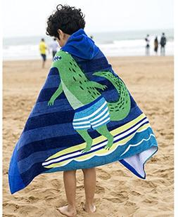 SearchI 100% Cotton 400 GSM Hooded Poncho Towel, Crocodile S