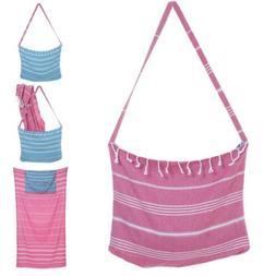 Cotton Beach Tote and Towel TWO IN ONE Beach Bag With Pocket