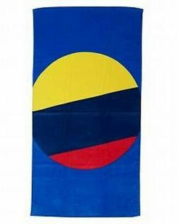 Evergreen Cotton Beach Towel 32x62 Vibrant Blue Red & Yellow