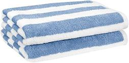 AmazonBasics Beach Towel - Cabana Stripe, Sky Blue, Pack of