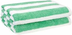 AmazonBasics Beach Towel - Cabana Stripe, Green, Pack of 2