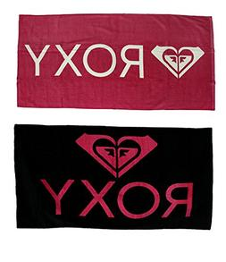 Cotton Beach Towels 2 Piece Bright Pink Roxy Logo Beach Towe