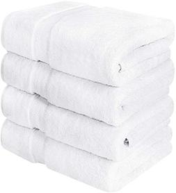 4 Piece 100% Cotton Big Bath Towel Set on Sale White Soft Lu