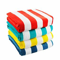 Exclusivo Mezcla 4-Pack 100% Cotton Cabana Striped Beach/Poo