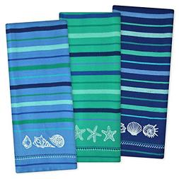 "DII Cotton Embroidered Blue Sea Dish Towels, 18 x 28"" Set of"