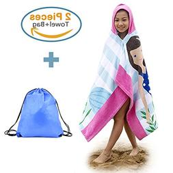 100% Cotton Hooded Beach Bath Towel and Bag Set Large for Gi