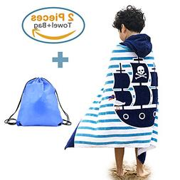 100% Cotton Hooded Beach Bath Towel and Bag Set Large for Ki