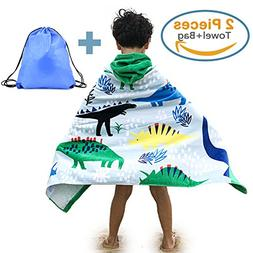 100% Cotton Kid's Hooded Beach Bath Towel and Bag Set for Bo