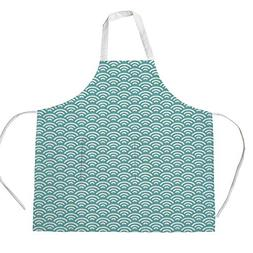 Cotton Linen Apron,Two Side Pocket,Abstract,Curly Bold Water