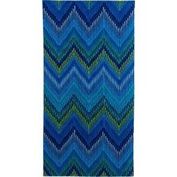 Cotton Printed Beach Towel, Ikat Chevron Blue, 2 pack