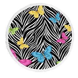 Custom Animal Beach Towel, Colorful Butterflies on Zebra Pri