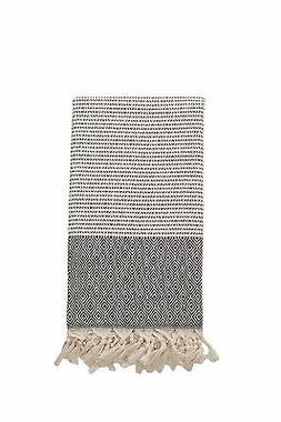 Diamond Pattern Black & Cream Turkish Towel, Oversized Bath
