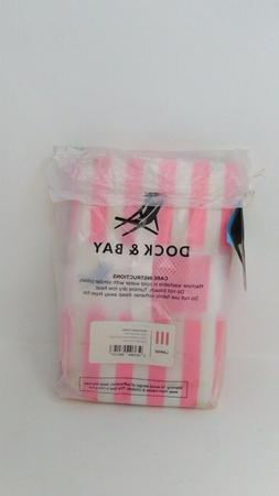 Dock & Bay Quick Dry Cabana Collection Towel Pink/White Stri