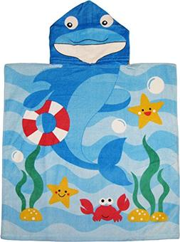 Kreative Kids Dolphin 100% Cotton Poncho Style Hooded Bath &
