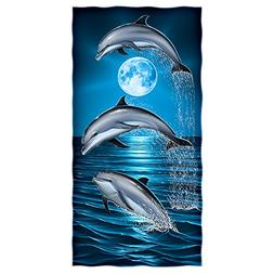 Dolphins Moon Cotton Beach Towel