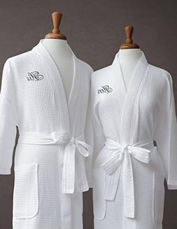 Luxor Linens Egyptian Cotton Waffle Weave Robe with His/Hers