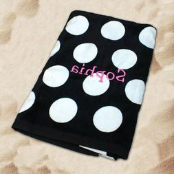 "Embroidered Black Polka Dot 30"" x 60"" Beach Towel, Cotton Ve"