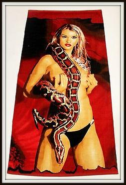 Exotic girl towel beach with snake bath sexy new