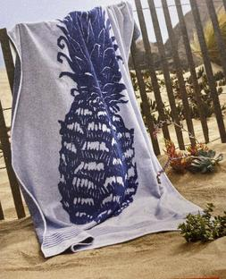 "Extra Long Reversible Beach Towel Pineapple 36"" x 72"" Bl"