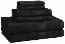 AmazonBasics Fade-Resistant Towel Set 6-Piece, Black