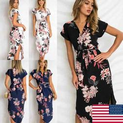 Fashion Women Floral Long Maxi Dress Evening Party Beach Dre