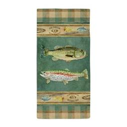 CafePress Fishing Cabin Lake Lodge Plaid Decor Beach Towel