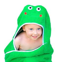 """Frog Face Hooded Kid Towel , 27.5"""" x 49"""", Plush and Abso"""