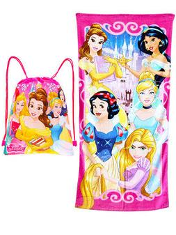 Girls Disney Princesses Beach Towel & Sling Bag 2-Piece Pink