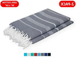 Quick-Dry Turkish Towel Beach Bath Fouta Pareo Sarong Sand-F