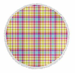 Latitude Run Harloe Plaid Round Beach Towel