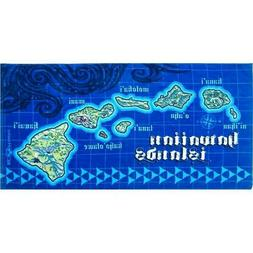 Hawaiian Islands Map Hawaii Blue 30x60 Hawaii Cotton Beach T