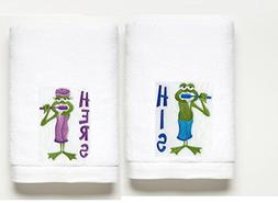 His & Hers Frogs ~ Bath Towel Set ~ 100% Cotton