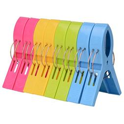 ilyever 8 Pack Fashion Color Beach Towel Clips for Beach Cha