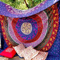 FLY SPRAY Indian Mandala Beach Throw Large Tapestry Purple P