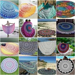 Indian Mandala Round Tapestry Beach Towel Throw Tablecloth H