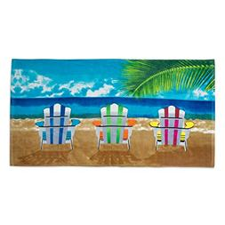 "Fashion Colorful Terry Cotton Beach Towel, 30x60"", Soft Abso"