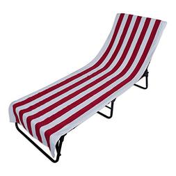 J&M Home Fashions Stripe Beach Lounge Chair Towel With Fitte