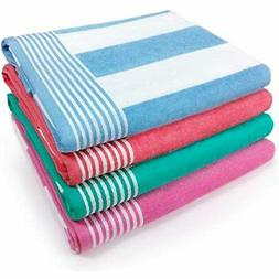 Kaufman - Velour Cabana Towels 4-Pack 30in X 60in Home &amp
