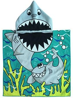 Athaelay Child Hooded Poncho Towel with Bright Shark for Bat