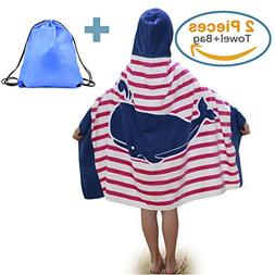 100% Cotton Kids Hooded Beach Bath Towel and Bag Set for Gir