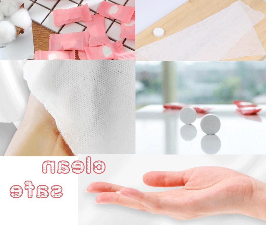 100 Disposable Compressed Face Tablets Tissue Home Travel