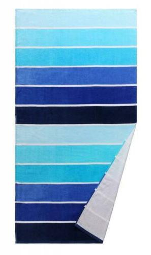 Exclusivo Mezcla 100% Beach Towel, Gradient Blue Striped