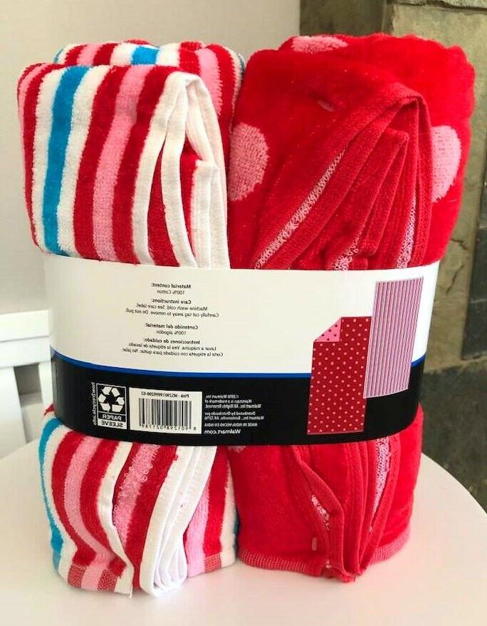 Pk Pink & Stripes Red Pink Dots Beach NEW