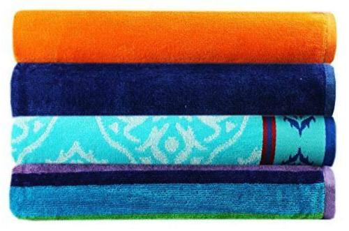 4 pack assorted velour beach towels large